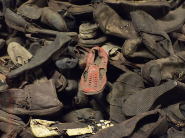 The shoes left from the victims of the Holocaust in Auschwitz, Poland Auschwitz  Auschwitz Birkenau Hitler ✌ Jews Poland Red Shoe Shoes Small Shoe World War 2 Childrens