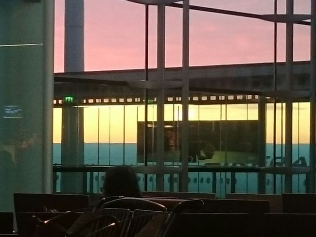 Sunrise in the departure lounge Charles De Gaulle Sunrise Indoors  Glass - Material