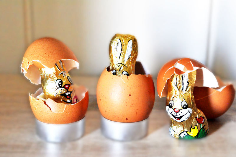Close-Up Of Easter Bunnies With Egg Shells On Table