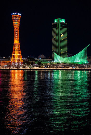 Built Structure Architecture Illuminated Night Building Exterior Water Waterfront City Reflection Sky Nature No People Tall - High River Office Building Exterior Building Modern Tower Travel Destinations Skyscraper Outdoors Financial District
