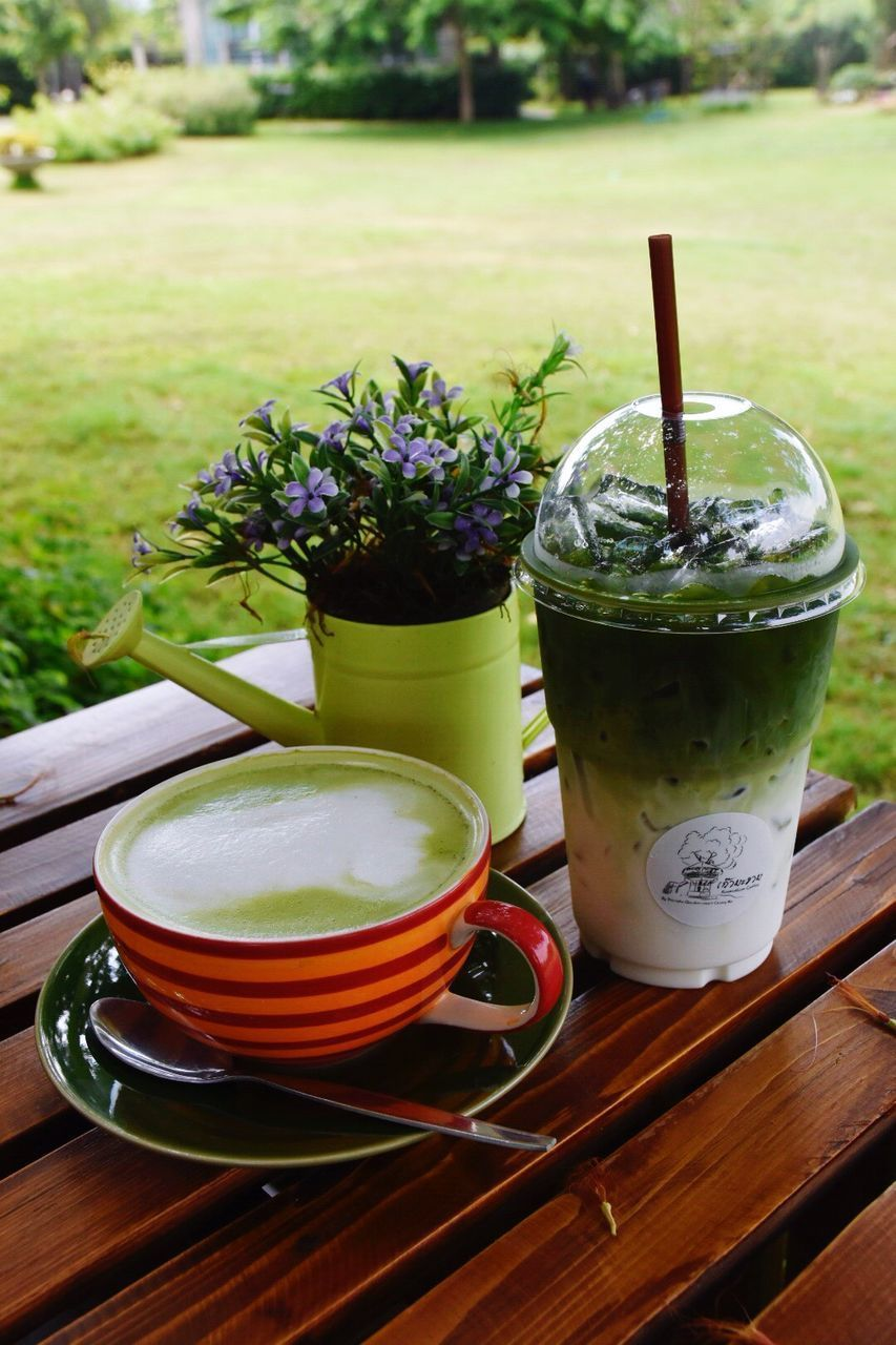 drink, food and drink, refreshment, table, freshness, no people, day, close-up, healthy eating, drinking glass, outdoors, focus on foreground, green color, food, grass, nature, ready-to-eat