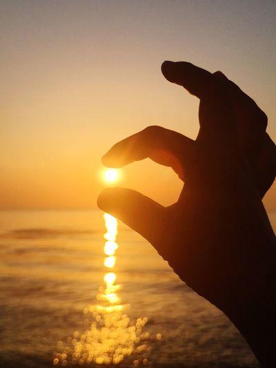 Sunset Sky Water Human Hand Hand Silhouette Sea