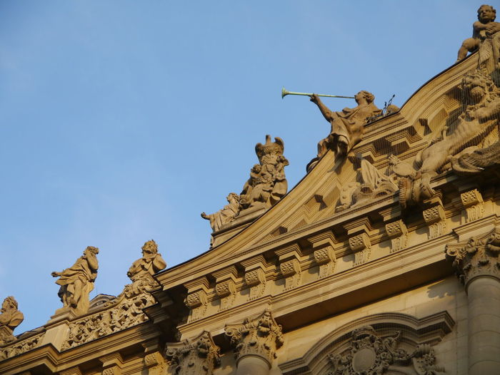 Low angle view of ornate building exterior