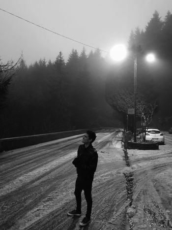 Snow ❄ Snow Cold Temperature Madeira Madeira Island Portugal Monochrome monochrome photography Spider Road Snow Road Sight Snowy Funchal Blackandwhite Winter Snow Cold Temperature One Person People Snowing Adult Outdoors Nature Night Sky Tree