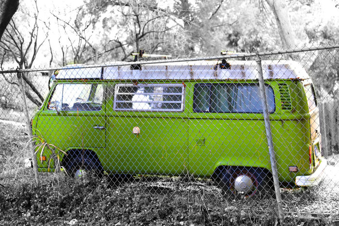 Lil'Green Love Bug 1960's 60's Chainlink Fence Classic Car Fence Green Hippie Hippie Bus Lime No People VW VW Bus VWbus