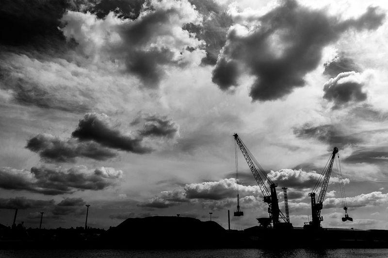 Harbor cranes Bw_collection Silhouettes Blackandwhite EyeEm Best Shots - Black + White