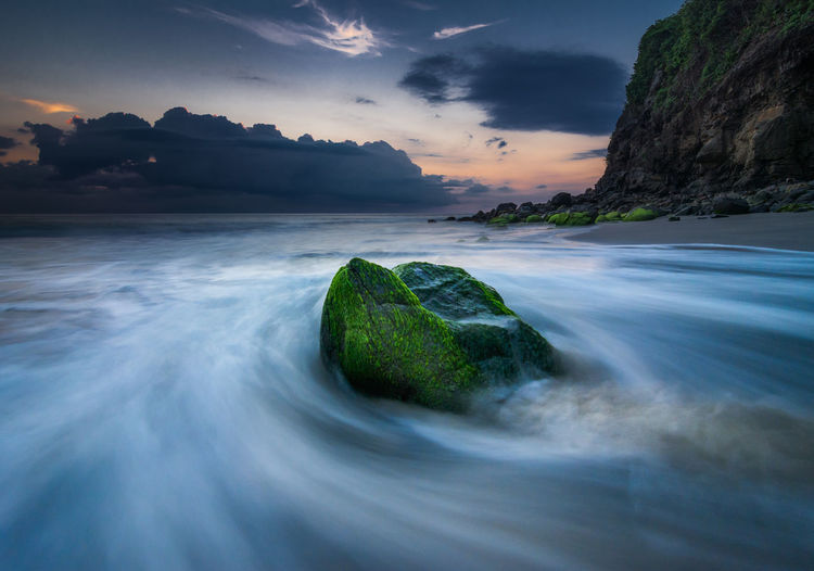 Long exposure of sea against sky