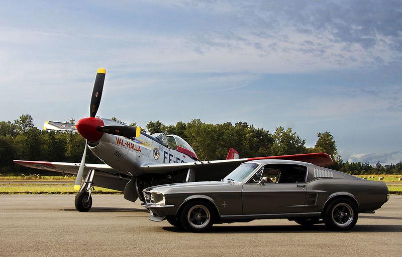 Car Classic Mustang Nostalgia P51 Sky Stationary Transportation Vehicle Warplane