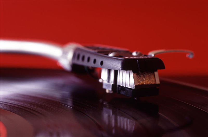 red record on a turntable Audio Close-up Cue Long Playing Longplay LP Music Music Needle Record Recording Selective Focus Sound Stereo Stylus System Technology Tonearm Vinyl