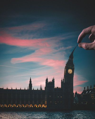 Take your pick Big Ben London Architecture Building Building Exterior Built Structure City Cityscape Clock Clock Tower Cloud - Sky Dusk Finger Hand Human Body Part Human Hand Nature One Person Outdoors River Sky Sunset Tower Travel Destinations Water