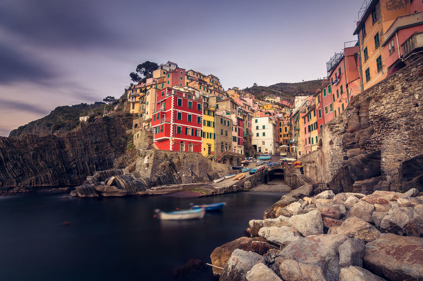 Riomaggiore, Cinque Terre (Italy). Long exposure single shot, end of December 2016 Cinque Terre Cityscape Cityscape Harbour Colored Buildings Colored Village Architecture Fishermen Boats Fishermen Village Long Exposure Cinque Terre Long Exposure Photography Mediterranean Feel Mediterranean Village Riomaggiore At Sunset Tourist In Italy Touristic Destination Winter In Cinque Terre