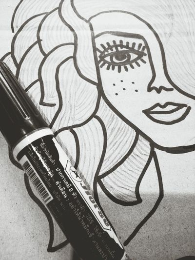 She is beautiful. B/w Beautiful Girl Sketching Permanent Marker