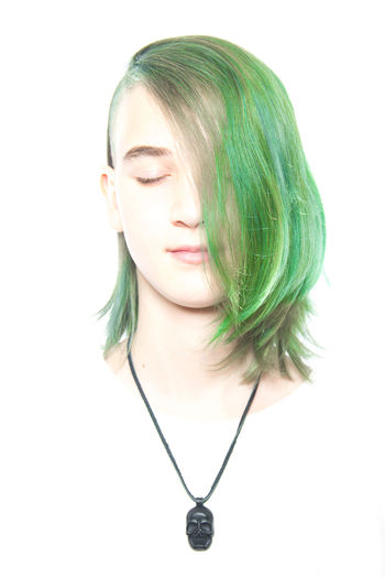 just one girl ... EyeEmNewHere Check This Out Eyemgallery Beauty Chain Front View Green Hair Hair Hairstyle Headshot Human Face One Person Portrait Side Cut Studio Shot White Background Young Women Cutting Hair