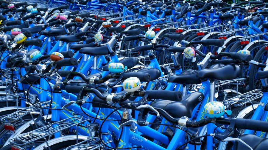 High angle view of bicycles