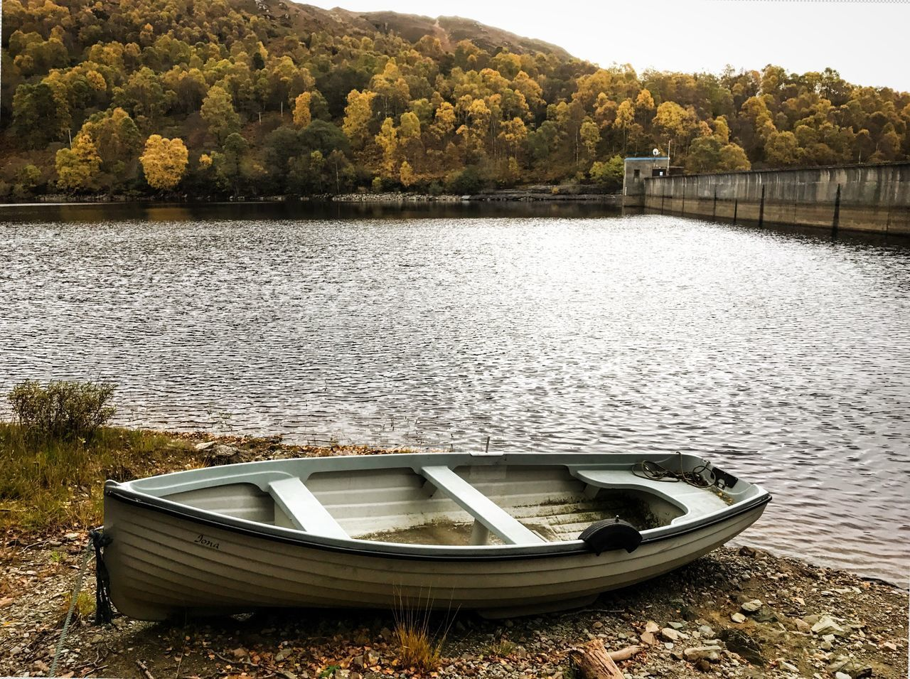 water, lake, tree, nautical vessel, outdoors, nature, transportation, day, rowboat, no people, moored, tranquility, beauty in nature
