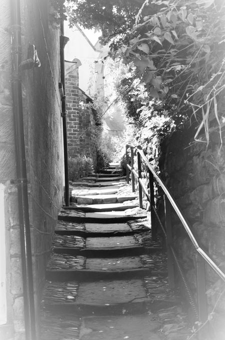 Black And White By Gone Footpath Old World Architecture Retro Steps Walkway Yorkshire