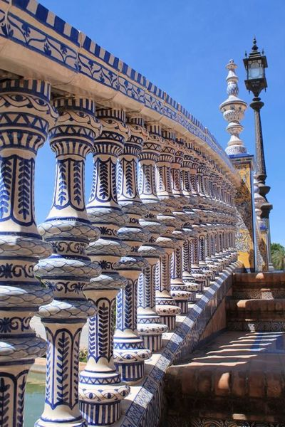 Sevilla Plaza De España Bridges Urban Geometry Beautiful Architecture Decoration Decorative Azulejos Seville Sevilla Spain Andalucía Andalusia Art Bridge Bridge Fence EyeEm Best Shots Taking Photos Hanging Out Enjoying Life Check This Out Man Made Object Man Made Structure Man Made Beauty Blue Sky