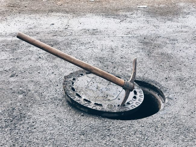 Cold Day Hole Manhole  No People Outdoors Pickaxe Street Street Photography Streetphotography Tool