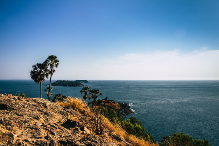 Laem Phromthep Phuket. One of the most beautiful sunset locations. Sky Sea Scenics - Nature Water Beauty In Nature Plant Horizon Tranquil Scene Tree Tranquility Horizon Over Water Nature Land Day No People Tropical Climate Outdoors Blue Non-urban Scene Sugar Palm