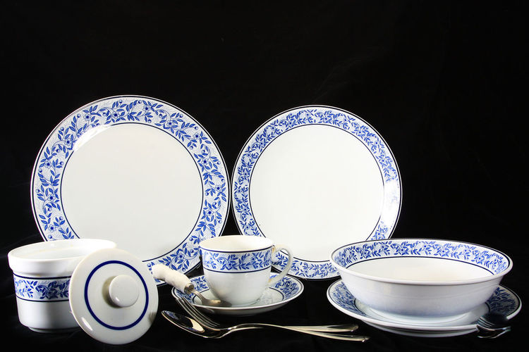 Antique crockery set , set of tableware Black Background Close-up Cup Day Indoors  Neat No People Plate Saucer Studio Shot Table