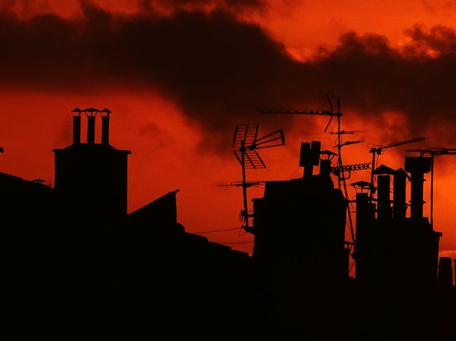 EyeEm Best Shots Orange Sky Orange Color Black And Orange Sky And Clouds Sunset EyeEm Gallery EyeEmBestPics Silhouette Smoke Stack Smoke - Physical Structure Built Structure Roof No People Night