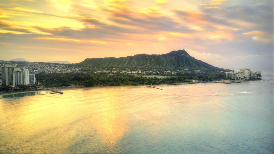 Diamond Head, Hawaii. Hawaii Hawaiian Sunset Waikiki Architecture Beauty In Nature Building Building Exterior Built Structure City Cloud - Sky Diamond Head Honolulu  Mountain Nature No People Outdoors Scenics - Nature Sea Sky Sunset Tranquil Scene Tranquility Water Waterfront
