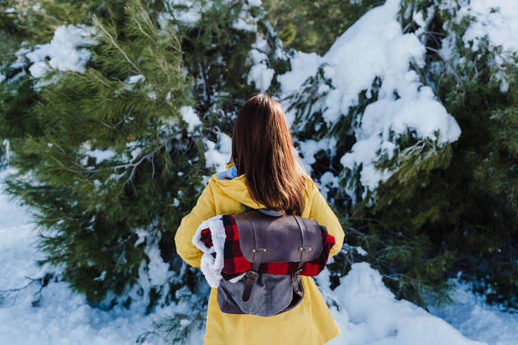 Rear view of woman in snow covered trees during winter