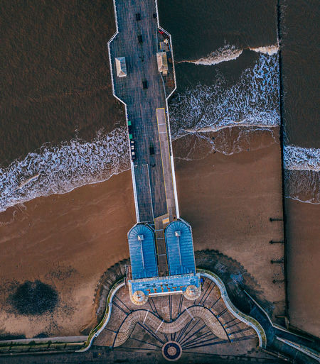 High angle view of cromer pier