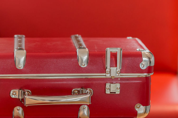 Close-Up Of Red Suitcase