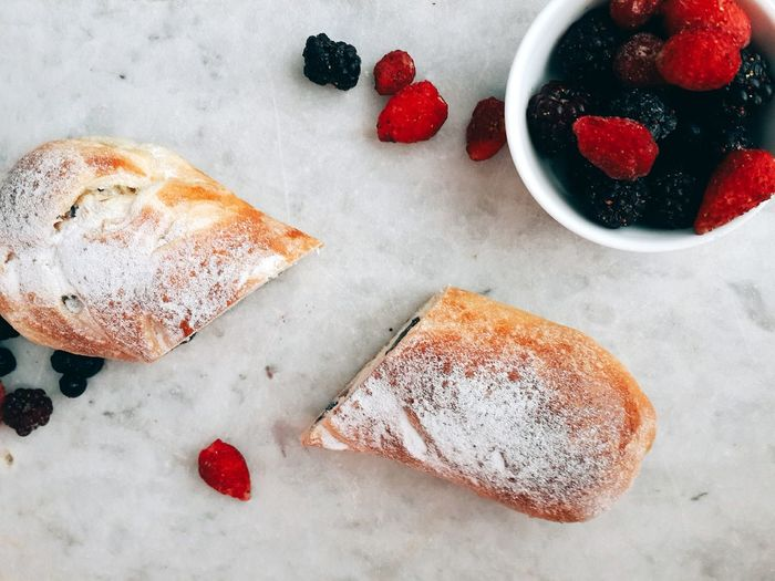 Healthy Eating Bread Food And Drink Food Indoors  No People Table Freshness Day Sweet Food Ready-to-eat Freshly Baked Buns Bowl Of Berries Handmade For You