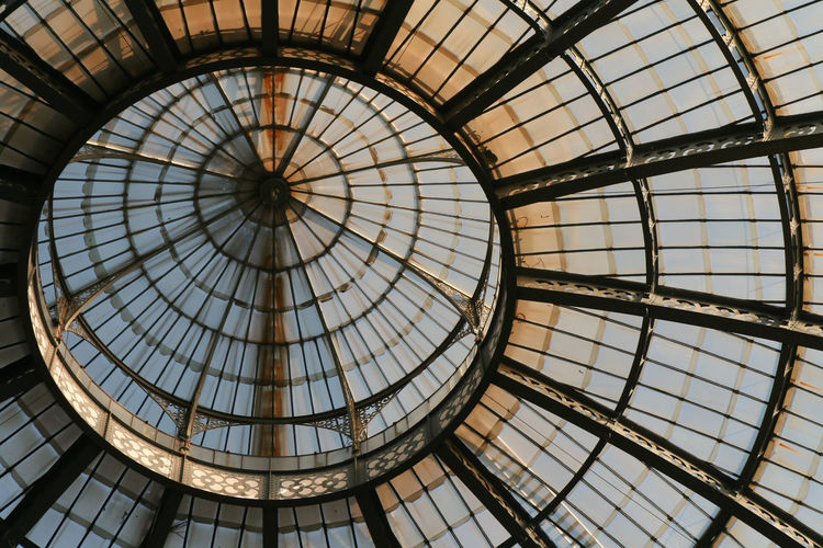 Low angle view of massive circular geometric skylight