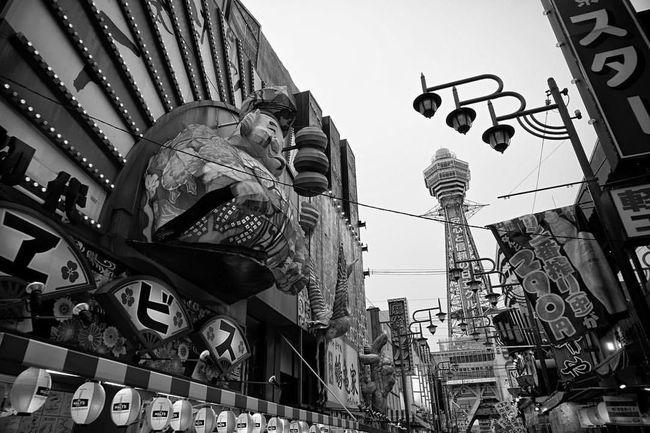 Architecture Blackandwhite Building Low Angle View OSAKA Signs Streetphotography Tsutenkaku