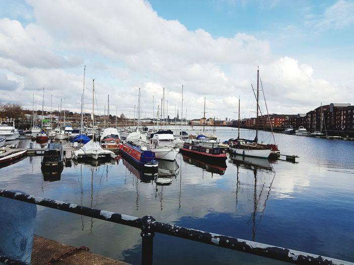 Water Nautical Vessel Harbor Moored Sea Reflection Sky Landscape Cloud - Sky