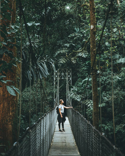Woman standing on footbridge in forest