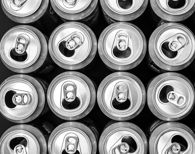 Krull&Krull Black And White Krull&Krull Studio Work Beer Cannes Freshness In A Row Industry Reflection A Lot Of Aluminium Backgrounds Black And White Can Day Directly Above Drink Empty Full Frame Indoors  Large Group Of Objects Metal No People Open Softdrink Tin Waste The Creative - 2018 EyeEm Awards