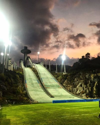 Night Soccer Sport Outdoors Soccer Field Nature Sky Gangwondo Pyeongchang Skijump Alpensia Ski Resort