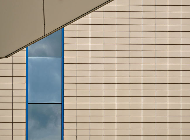 Architecture Background Beige Blue Building Exterior Built Structure Copy Space Lines And Shapes Minimalism Modern Architecture Pattern Rectangles Reflection Of Sky In Window Symetrical Symetry Symplicity The Architect - 2017 EyeEm Awards Tiles Wall Window