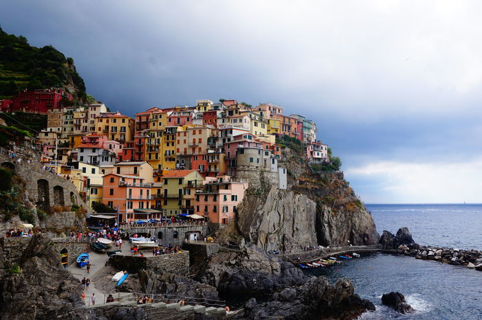 Cinque Terre Manarola Colorful Colors Of City Italia City Water Cityscape Sea Sky Architecture Horizon Over Water Building Exterior