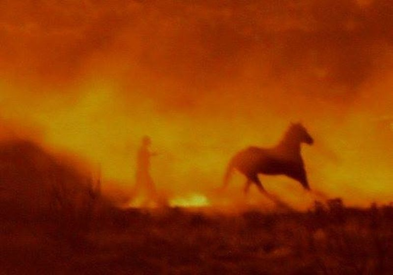 Man and horse in dusty sunset Man And Horse Dusty Sunset Horse