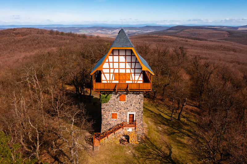 Aerial view of the famous sasberc lookout tower which is the highest point of cserhat mountain.