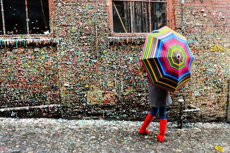 Colour Of Life Gum Wall Post Alley Seattle Umbrella Stripes Boots Gum