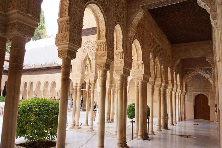 Alhambra 05 Alabaster Stucco Ancient Andalusian Architecture Arabesques Arch Architectural Column Architecture Archival Built Structure Geometrical Patterns History Islamic Art Islamic Calligraphy Mudejar Art Muqarnas Ceiling Decoration Muslim Empire Nasriden Palac No People Travel Destinations Wall Pattern