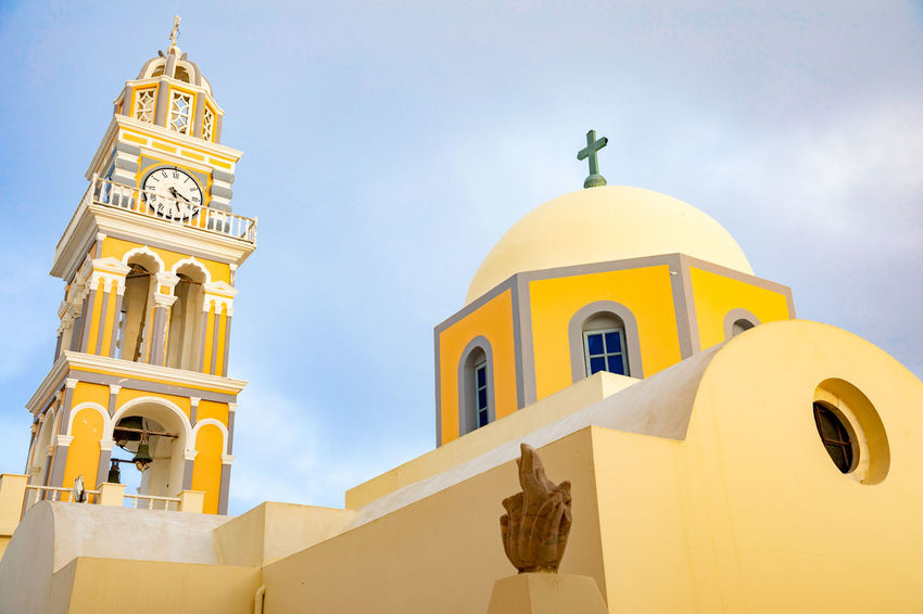 Greece Santorini Oia Thira Architecture Built Structure Building Exterior Building Place Of Worship Belief Spirituality Religion Low Angle View Sky Nature Bell Tower - Tower Cross No People Tower Dome Arch Outdoors Spire