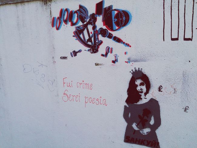 3D Art Lisboa Fui Crime Serei Poesia Graffiti Street Art Mural Written