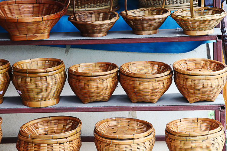 Wicker Baskets On Shelf For Sale At Market Stall
