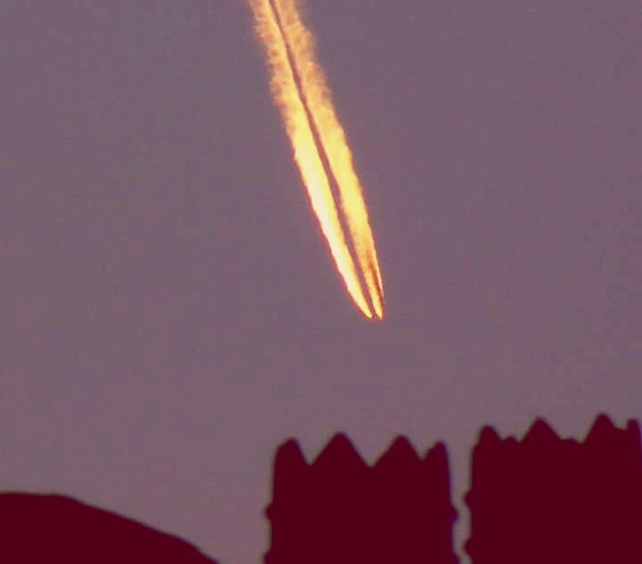 no people, night, space exploration, sky, flying, outdoors, space, nature, vapor trail, close-up