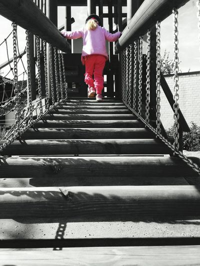 Kids Spielplatz Hello World Fun Handyphoto Pink Colour And Black And White
