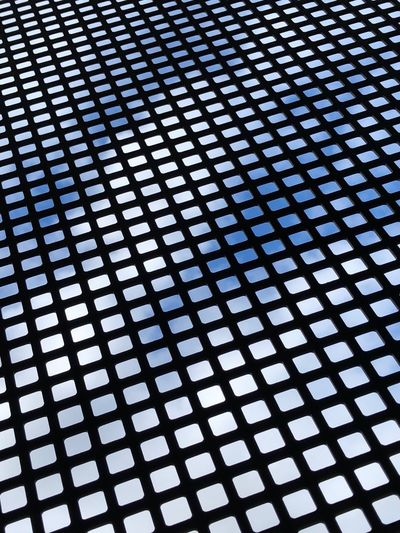 Cloud Blue Sky Pattern Backgrounds Full Frame No People Indoors  Design Textured  Shape Repetition Abstract Close-up Metal Grid Geometric Shape Seamless Pattern Day Low Angle View Wire Wire Mesh