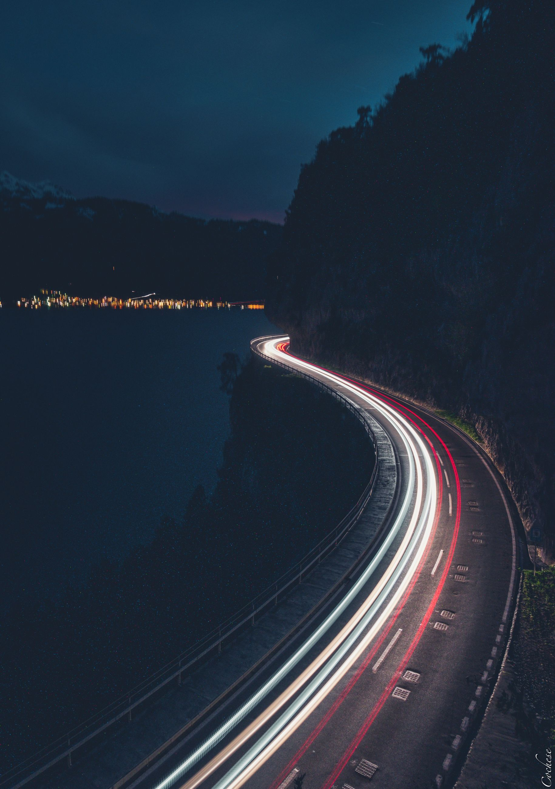 transportation, night, illuminated, light trail, long exposure, road, speed, motion, sky, nature, no people, curve, red, mode of transportation, street, city, blurred motion, tail light, traffic, highway, outdoors