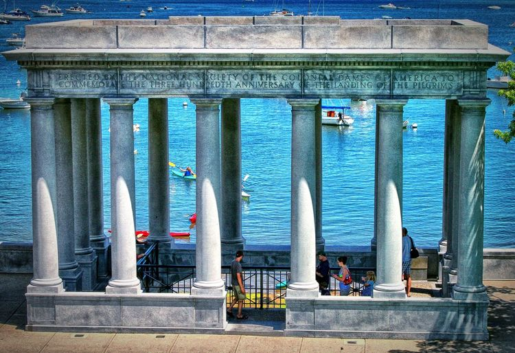 The Home of Plymouth Rock History Historic Sites Plymouth Massachusetts Plymouth Rock Water Architectural Column Sea Architecture Sky Building Exterior Built Structure